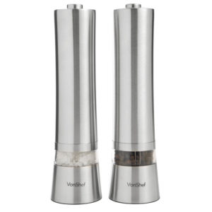 VonShef 2 x Electric Illuminating Salt & Pepper Mill Grinder