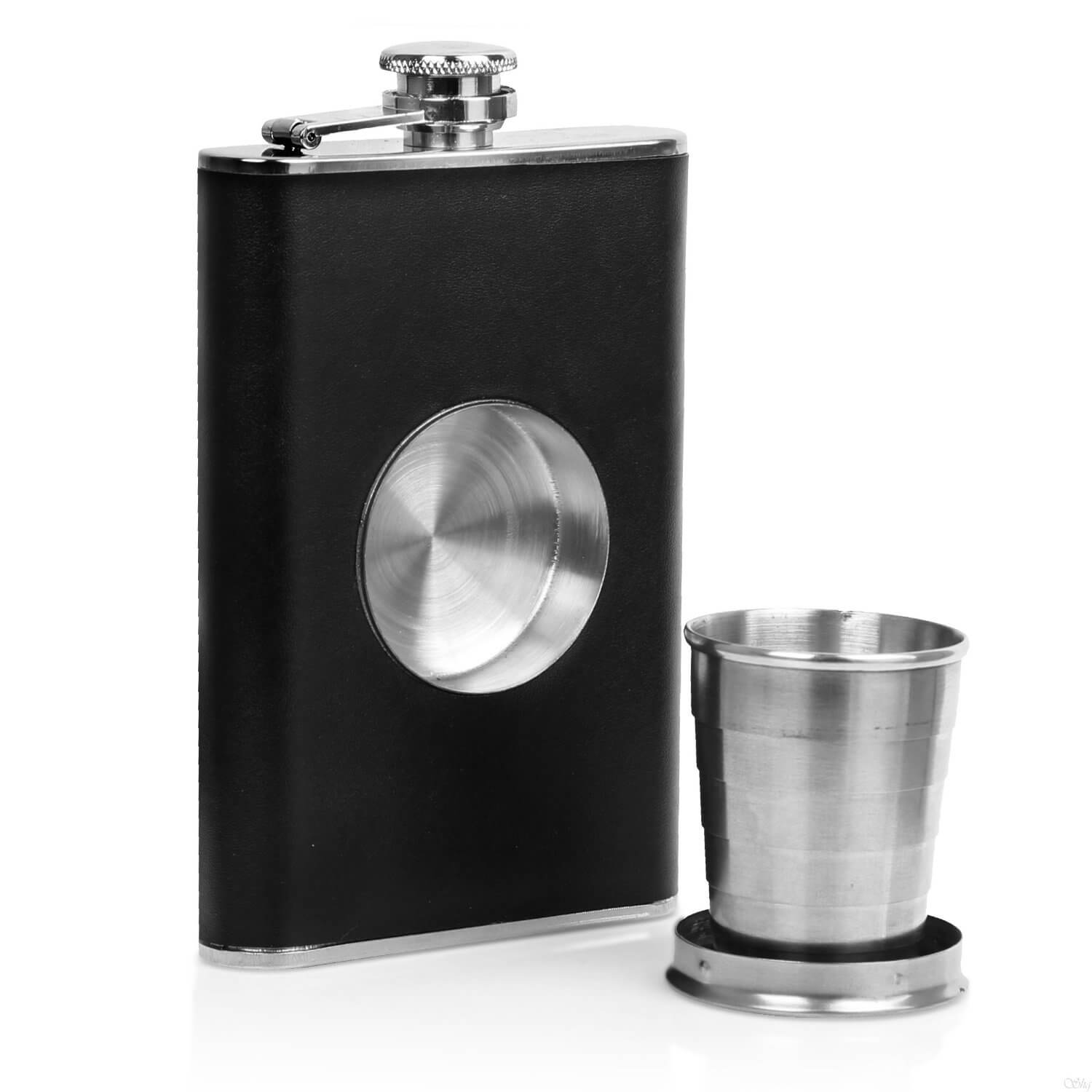 Ivation Stainless Steel & Genuine Leather Shot Flask 8oz. Hip Flask with Collapsible 2oz. Shot Glass