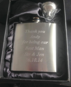 Personalised 6oz Hip Flask set with gift box Engraved